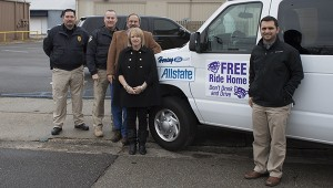Jodi Marze  Picayune Item Group effort:  From left are Deputy Chief Chad Dorn and Chief Bryan Dawsey of the Picayune Police Department, John Pigott of Pigott Allstate Insurance, Tina Stockstill, Chamber President and Mark Herring of Herring Ford.