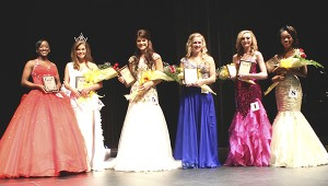 PRCC Public Relations photo Miss PRCC Wildcat crowned: Winners of the Miss PRCC Wildcat Scholarship Pageant are, from left, Shaquell Thomas of Hattiesburg, ad sales award; Chynna Coghlan of Bogue Chitto, Miss PRCC Wildcat and physical fitness award; Dory Lunn of Mize, first alternate, presence and composure award; Darion Matthews of Richton, second alternate; Joelle Ladner of Lumberton, third alternate, judges' interview award; and Breanna Peters of Brandon, fourth alternate and congeniality award.