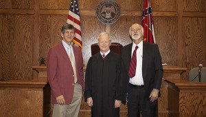 Jodi Marze | Picayune Item All Rise: Chancery Clerk David Earl Johnson, Judge Ronald Doleac and attorney Gerald Cruthird stand in the Chimney Square courtroom that is used to hold Chancery Court. Jodi Marze | Picayune Item