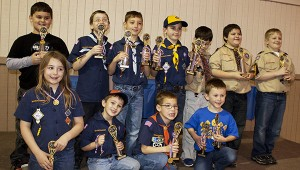 2014 Pinewood Derby winners: Front Row (L to R): Sabastian Mitchell, Joseph Giaise, Grant Malcolm, Ben Naquin BackRow (L to R): Aden Kekko, Johnathan Polson, Slade Malcolm, Noah Dobbs, Christopher Gestring, Michael Olive, Ethen Hickey. Photo by Jodi Marze