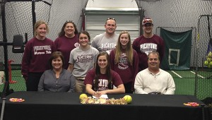 """INKS DEAL: Picayune Memorial High School Softball standout Jennifer Walker has signed a with Mississippi Gulf Coast Community College.   Jennifer is a senior infielder for Coach Kristi Mitchell's Lady Tide.   """"Jennifer is a very talented softball player and has a tremendous work ethic.  MGCCC is not only getting an outstanding softball player but a great person.  I expect Jennifer to make an immediate impact next season"""" said Coach Kristi Mitchell.   MGCCC Coach Kenny Long said, """" We were able to watch Jennifer play at the end of her junior season and through summer ball.  We made her a top priority because she is a versatile player that can help us remain a championship program"""". Pictured are (seated, from left) Leila Walker,  Jennifer Walker,  Mickie Walker and (middle)  Lauren Walker, Sarah Walker, also (Standing) Coach Courtney Dickens, Coach Kristi Mitchell, Coach Adam Feeley, Coach Jayme Hodge. Submitted photo"""