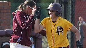 ROUND TRIPPER: Pearl River's Rachel Hickman rounds third and heads for home after belting a solo homer in the second game of an MACJC South Division doubleheader against Meridian played Sunday in Poplarville. Hickman prepped at Poplarville High School.  Mitch Deaver | PRCC