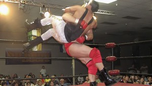 Slam time: Former WWE Star (and New Orleans Saints player) Jon Heidenreich slams Kent Truth in a 2008 show at Resurrection Life.  Photo submitted