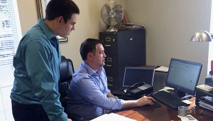 In his shadow: Poplarville High School senior Michael O'Bryant has spent three days shadowing Poplarville Mayor Brad Necaise as part of his senior project.  Photo submitted