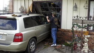 Steel Magnolias Hair Salon had a walk-in client make their business a drive-in when she mistakenly pressed the gas instead of the brake on Wednesday afternoon. Fortunately, the shop had uncharacteristically closed early for the day a mere hour before. Photo submitted