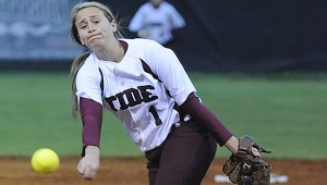 YOUNG GUN: Picayune freshman pitcher Megan Dudenhefer lets fly with a pitch in recent Lady Tide fast-pitch softball action. Picayune hosts PRC tonight. Photo by John Young