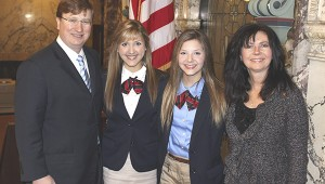 LEGISLATIVE LESSONS: From left, Lt. Governor Tate Reeves poses with Victoria Voss, Gabriella Voss and Senator Angela Hill. Victoria and Gabriella served as Senate Pages in Jackson for a week.  Photo submitted