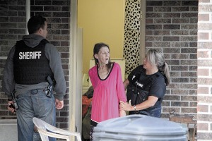 DRUG ROUNDUP: Sandra Bailey was taken into custody during the Pearl River County Sheriff's Department roundup operation Thursday morning. Bailey was charged with conspiracy to manufacture a controlled substance.  Photo by Jeremy Pittari