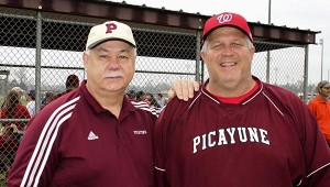 It's a tradition: Harvey Miller with the city of Picayune was PYAA Board President Allen Hickman. Miller was Hickman's first coach at Friendship Park.  Jodi Marze   Picayune Item