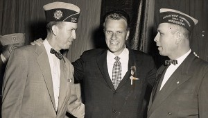 BURKS AND FRIENDS: From left: Then Representative Delos H. Burks, Adjutant –Quartermaster of VFW of Mississippi, the Reverend Billy Graham and Representative Jeff B. Williams of Lexington, Miss. Commander of VFW.  Photo submitted